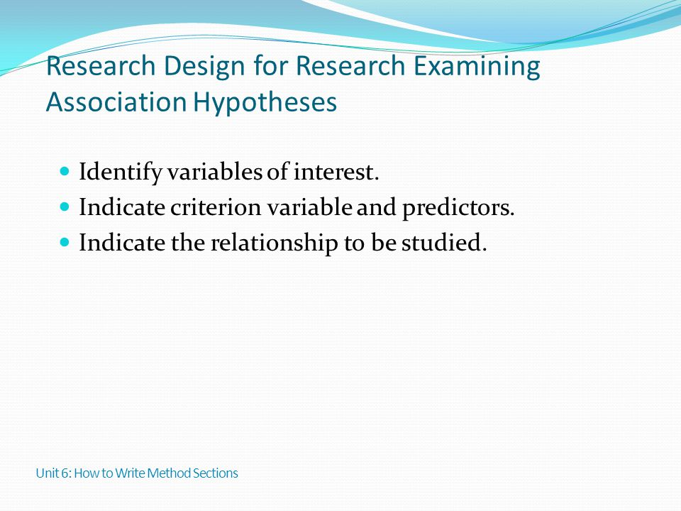 Research Design for Research Examining Association Hypotheses