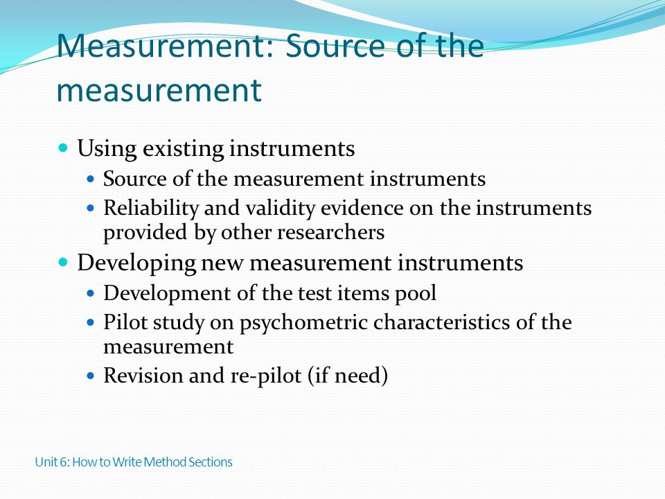 Measurement: Source of the measurement