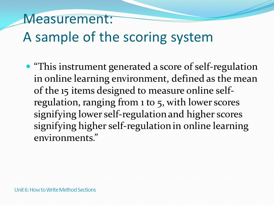 Measurement: A sample of the scoring system