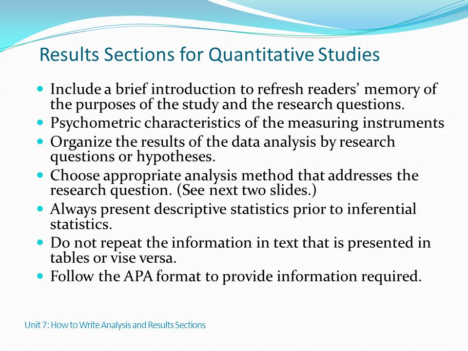 Results Sections for Quantitative Studies