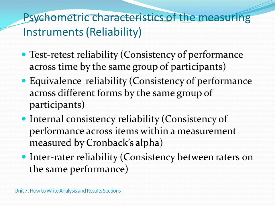 Psychometric characteristics of the measuring Instruments (Reliability)