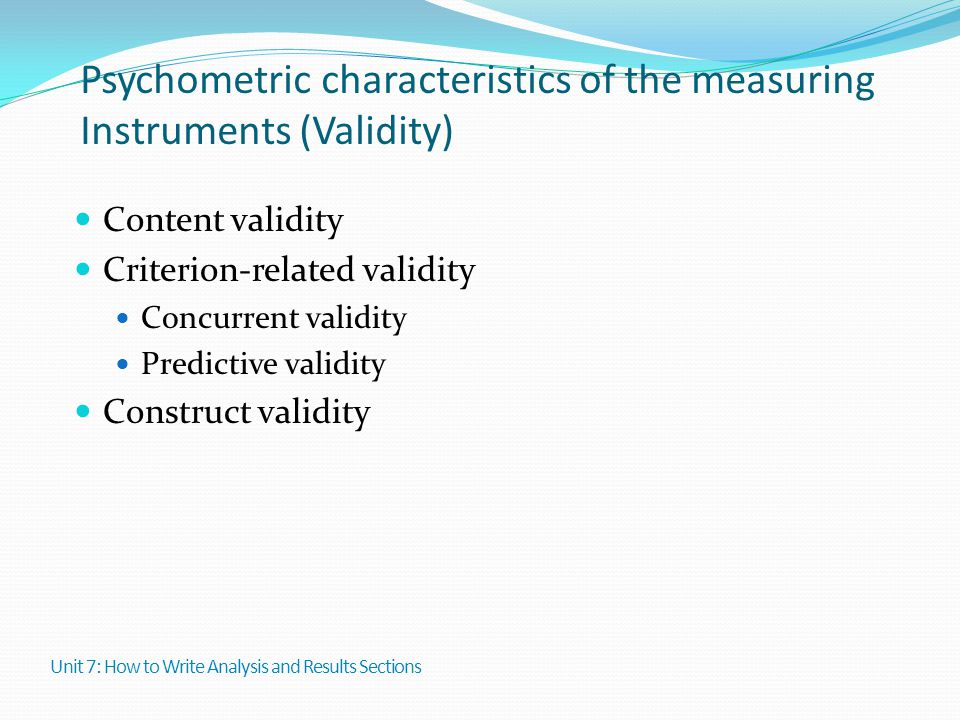 Psychometric characteristics of the measuring Instruments (Validity)