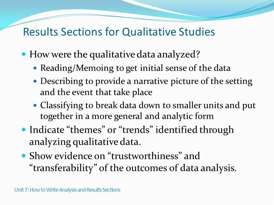 Results Sections for Qualitative Studies