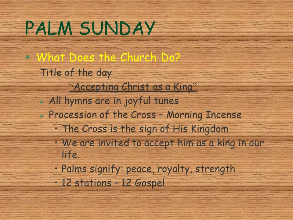 PALM SUNDAY What Does the Church Do Title of the day