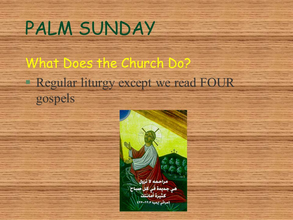 PALM SUNDAY What Does the Church Do