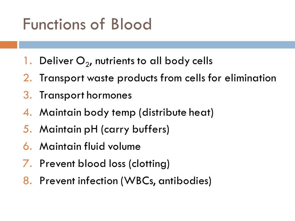 Functions of Blood Deliver O2, nutrients to all body cells