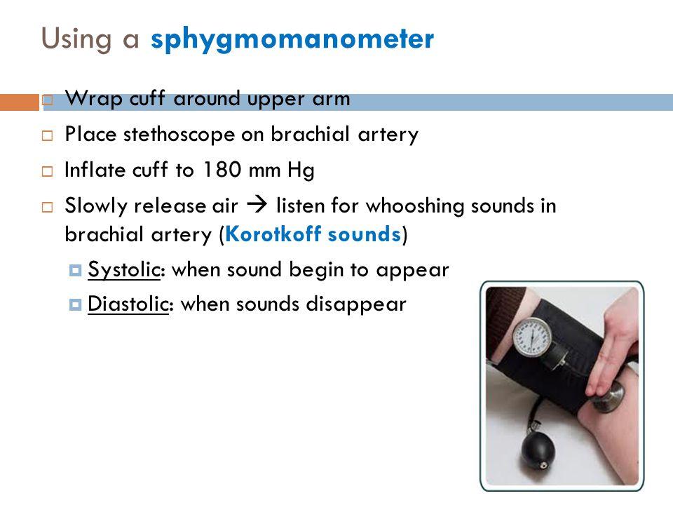 Using a sphygmomanometer