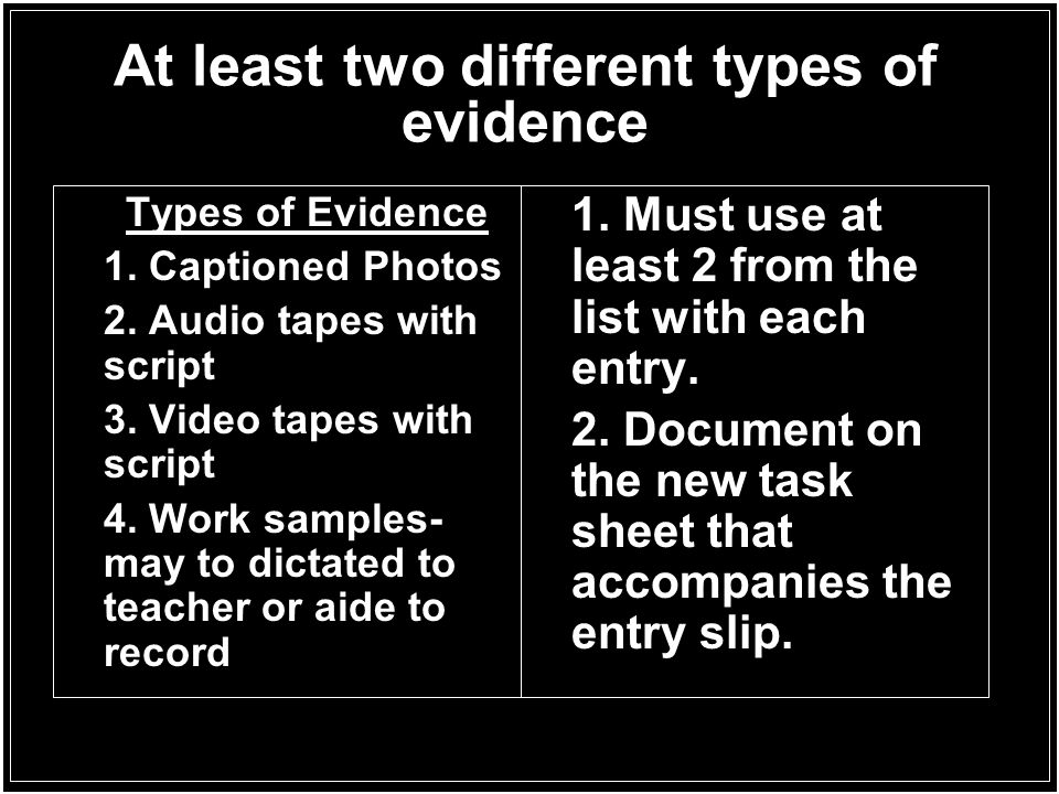 At least two different types of evidence