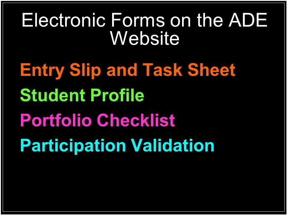 Electronic Forms on the ADE Website