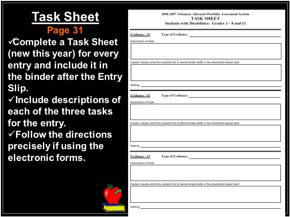 Task Sheet Page 31. Complete a Task Sheet (new this year) for every entry and include it in the binder after the Entry Slip.