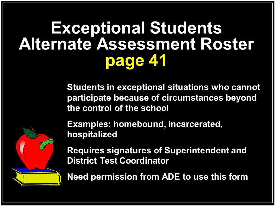 Exceptional Students Alternate Assessment Roster page 41