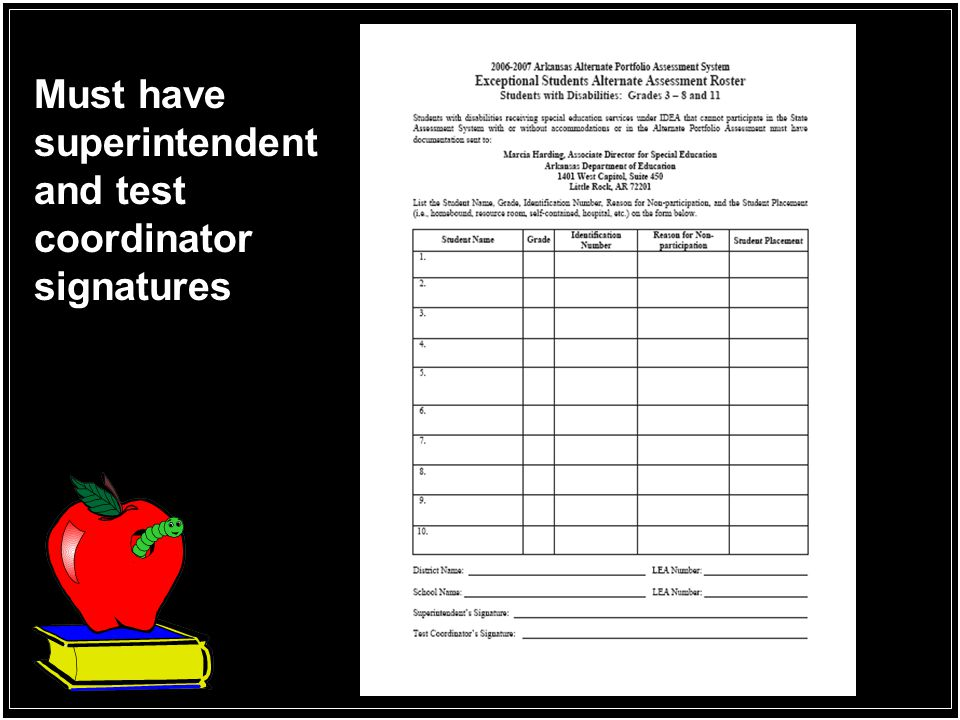 Must have superintendent and test coordinator signatures