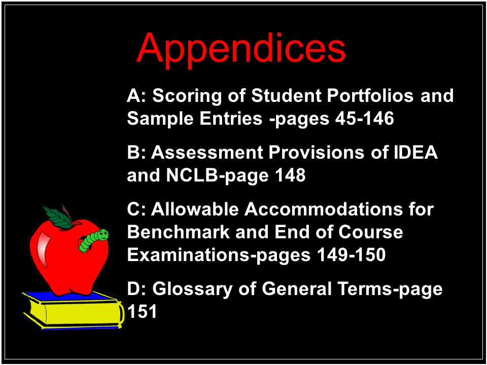 Appendices A: Scoring of Student Portfolios and Sample Entries -pages 45-146. B: Assessment Provisions of IDEA and NCLB-page 148.