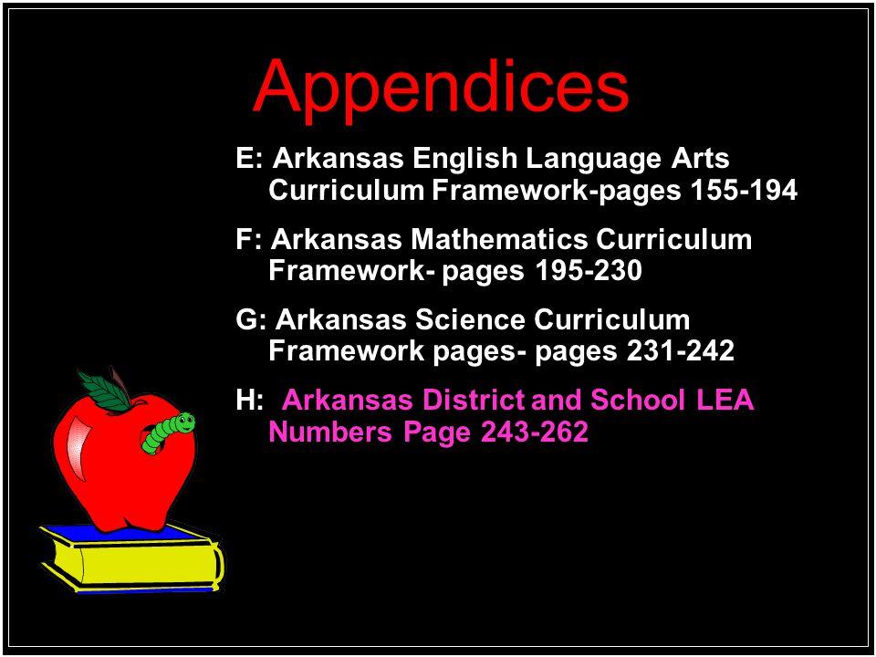 Appendices E: Arkansas English Language Arts Curriculum Framework-pages 155-194. F: Arkansas Mathematics Curriculum Framework- pages 195-230.