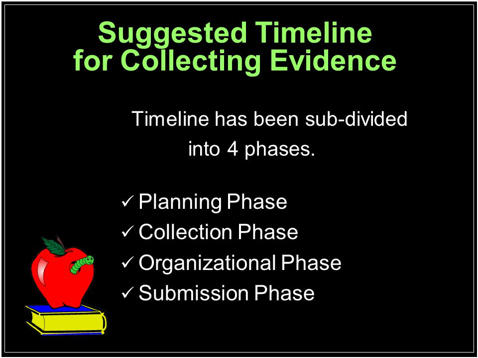 Suggested Timeline for Collecting Evidence