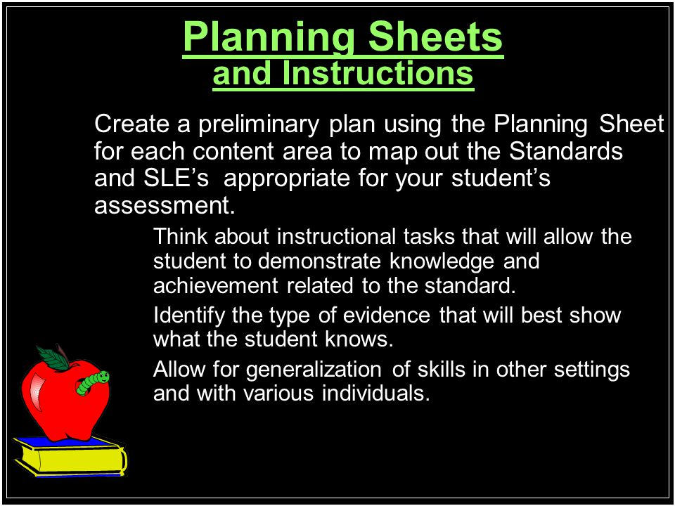 Planning Sheets and Instructions