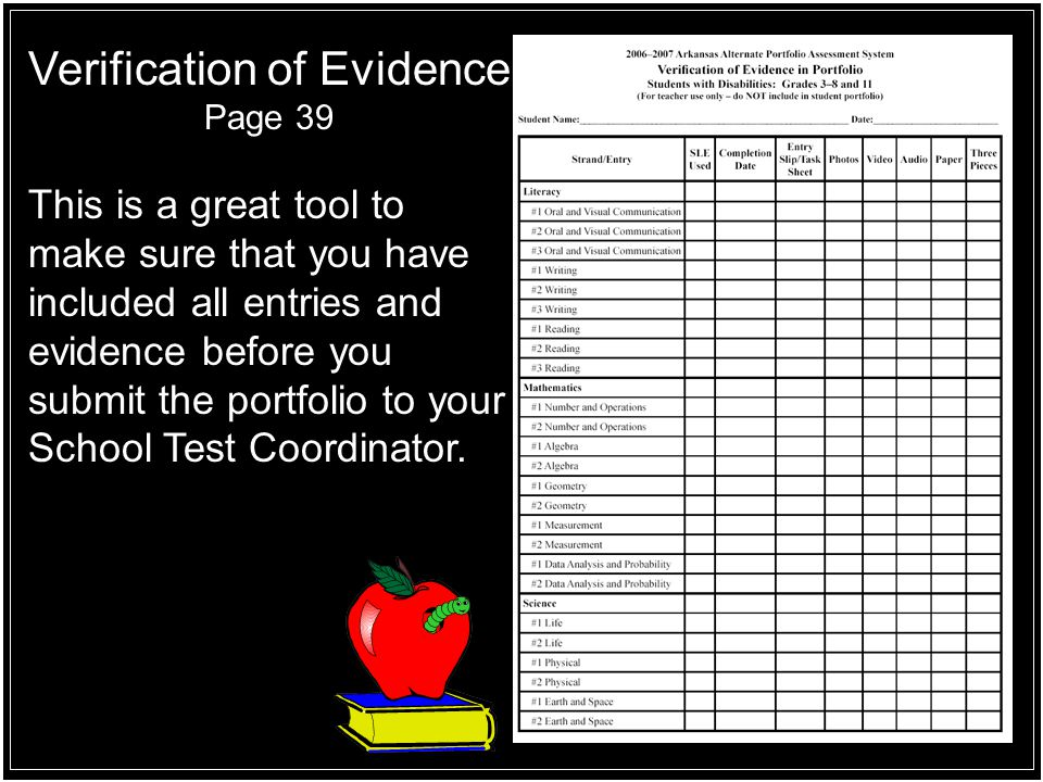 Verification of Evidence