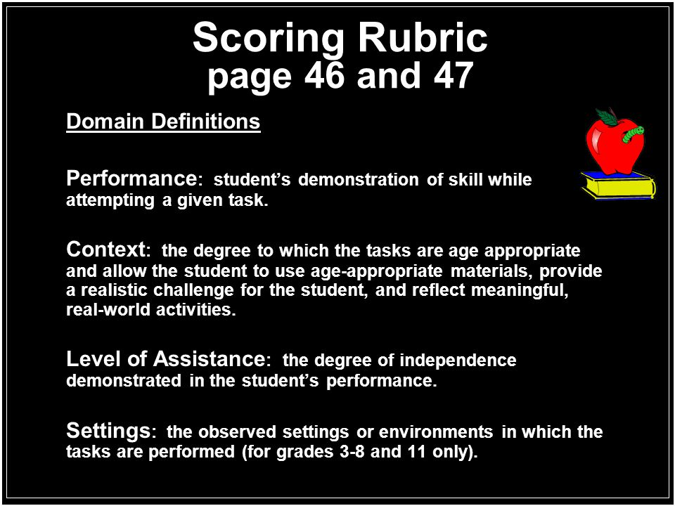 Scoring Rubric page 46 and 47