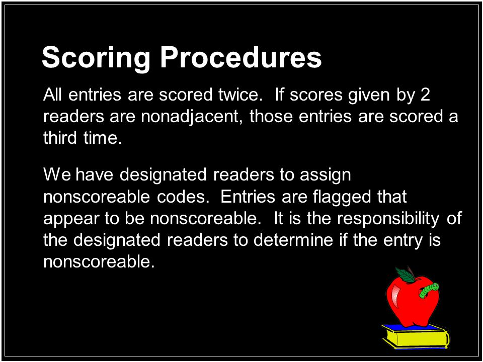 Scoring Procedures All entries are scored twice. If scores given by 2 readers are nonadjacent, those entries are scored a third time.