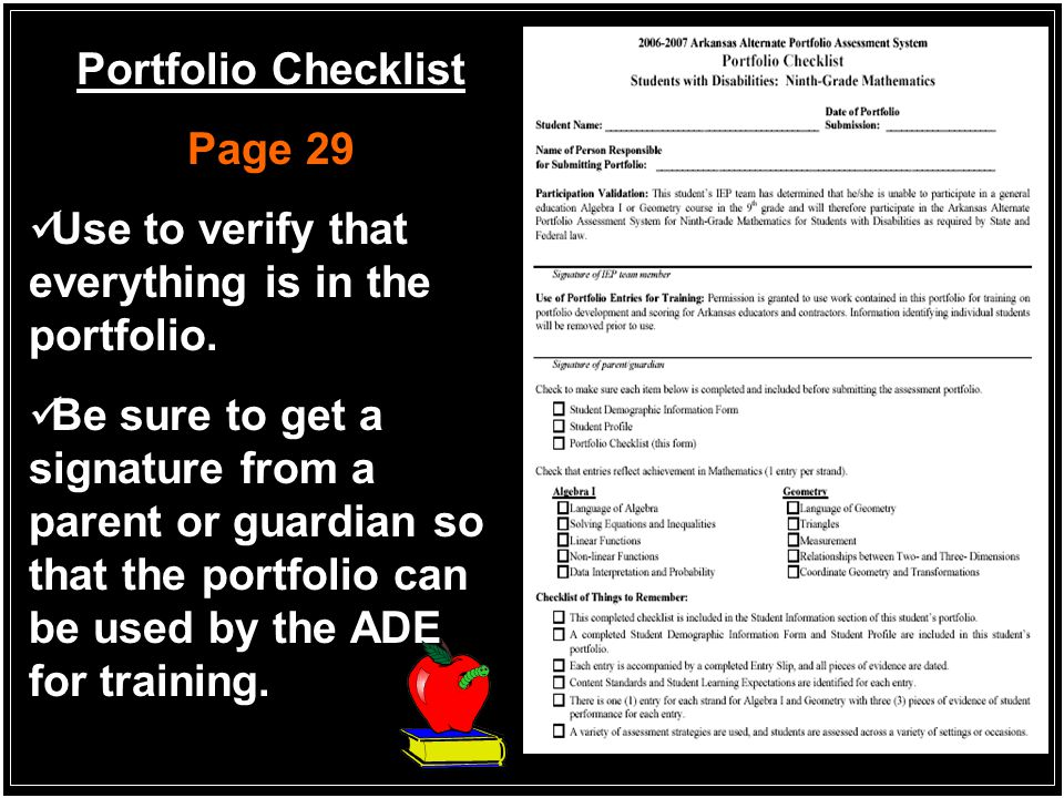 Portfolio Checklist Page 29