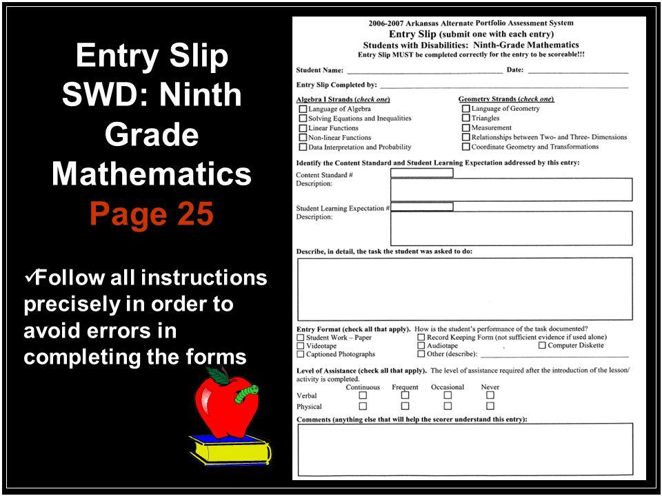 SWD: Ninth Grade Mathematics