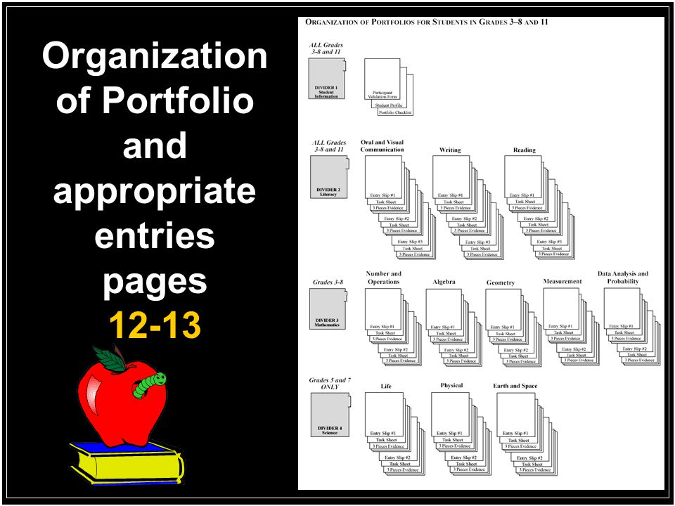 Organization of Portfolio and appropriate entries pages 12-13