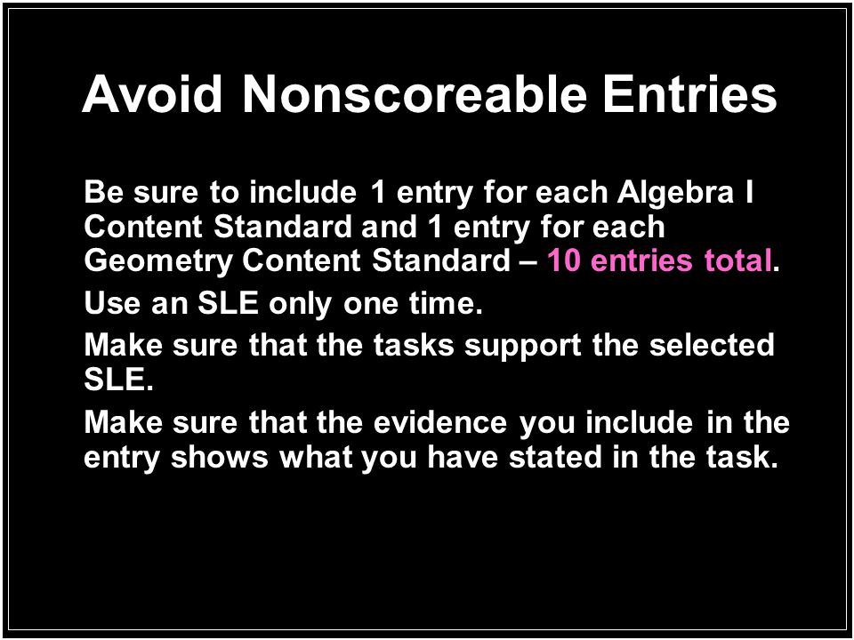 Avoid Nonscoreable Entries
