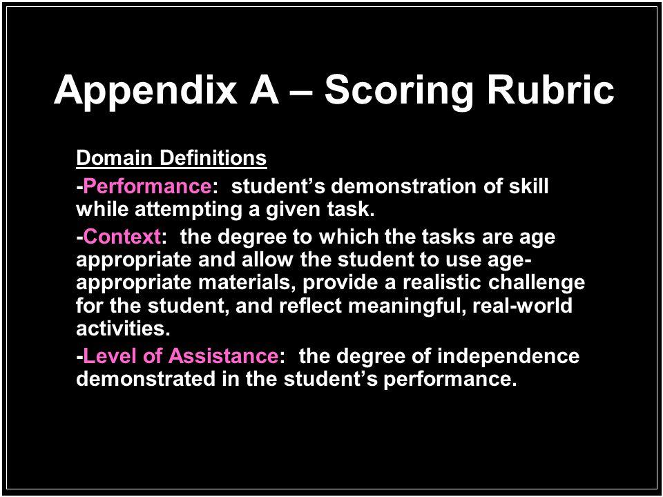 Appendix A – Scoring Rubric