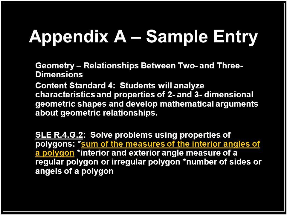 Appendix A – Sample Entry