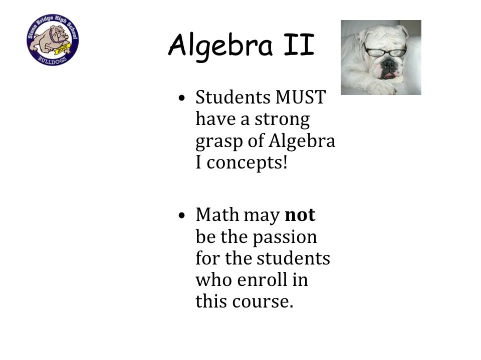 Algebra II Students MUST have a strong grasp of Algebra I concepts!