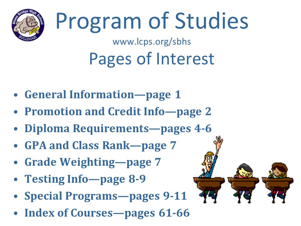 Program of Studies www.lcps.org/sbhs Pages of Interest