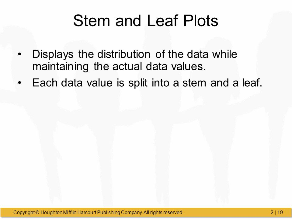 Stem and Leaf Plots Displays the distribution of the data while maintaining the actual data values.
