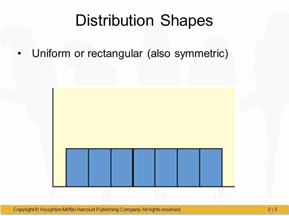 Distribution Shapes Uniform or rectangular (also symmetric)