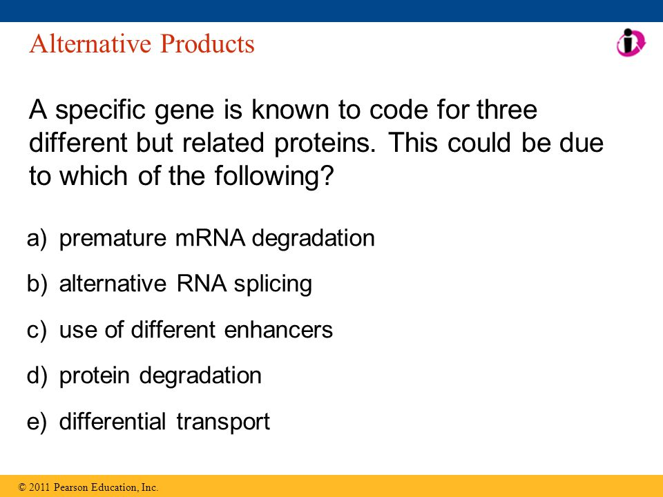 Alternative Products A specific gene is known to code for three different but related proteins. This could be due to which of the following