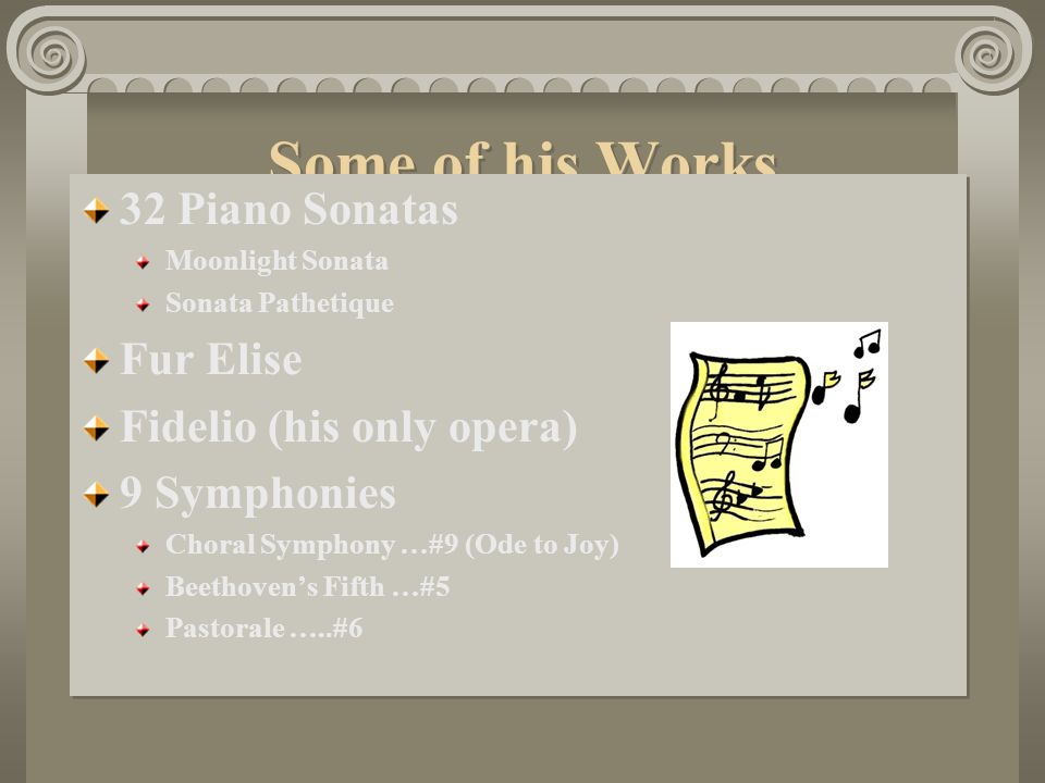 Some of his Works 32 Piano Sonatas Fur Elise Fidelio (his only opera)