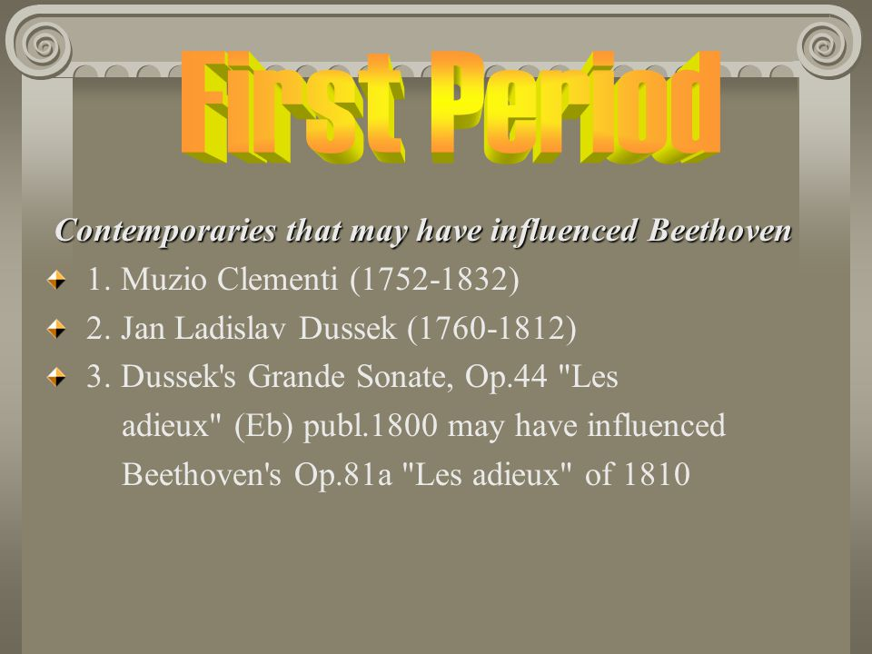 First Period Contemporaries that may have influenced Beethoven