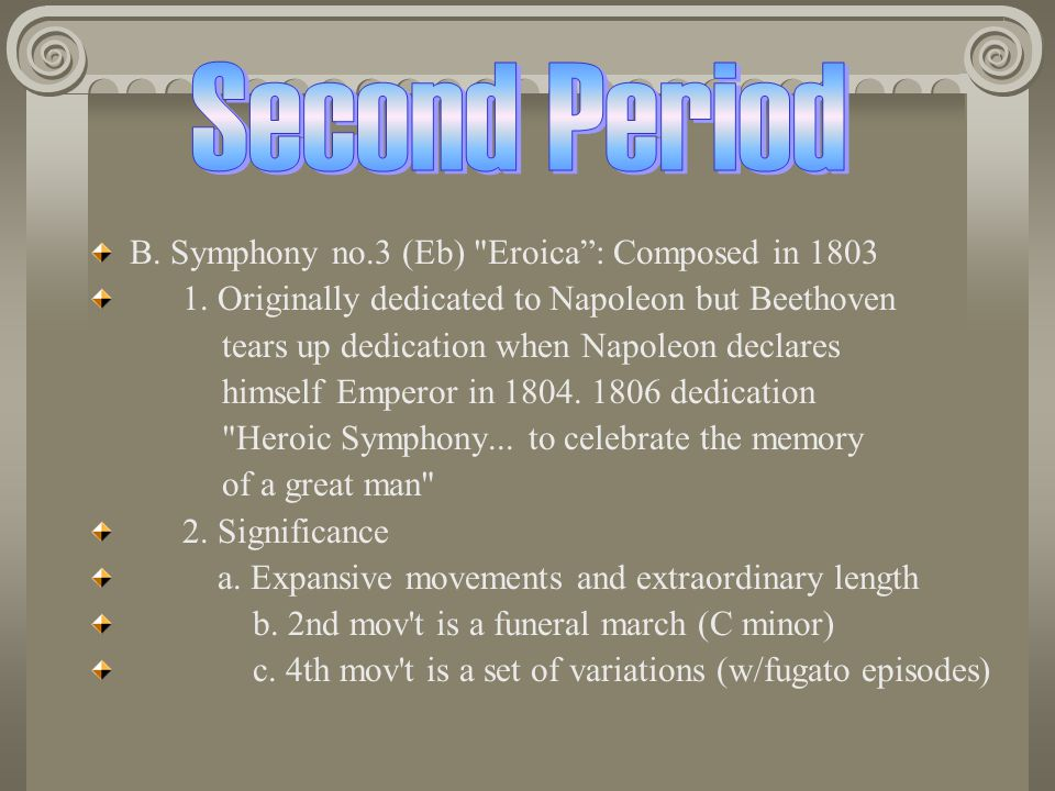 Second Period B. Symphony no.3 (Eb) Eroica : Composed in 1803
