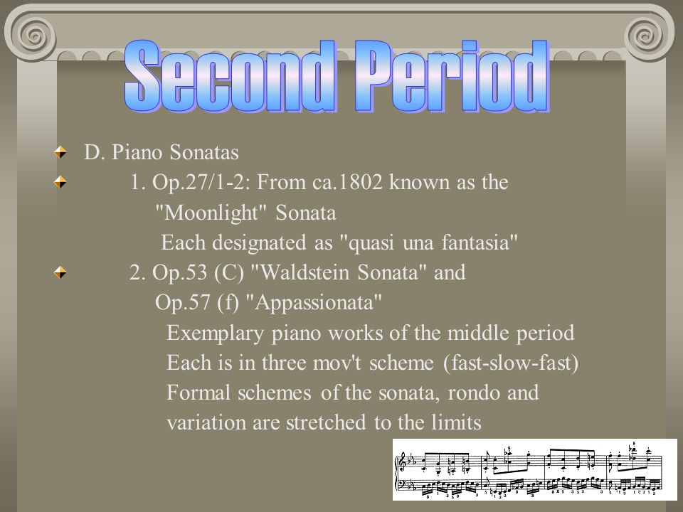 Second Period D. Piano Sonatas 1. Op.27/1-2: From ca.1802 known as the
