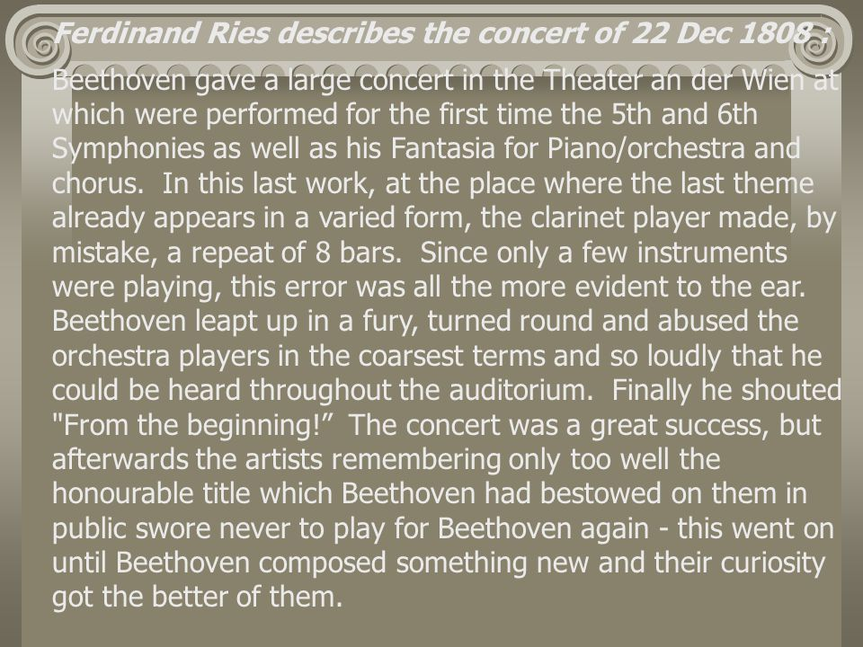 Ferdinand Ries describes the concert of 22 Dec 1808 :