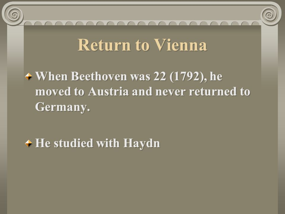 Return to Vienna When Beethoven was 22 (1792), he moved to Austria and never returned to Germany.