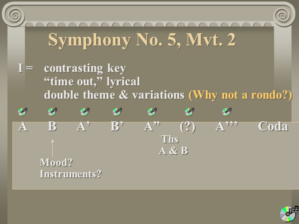 Symphony No. 5, Mvt. 2 I = contrasting key time out, lyrical double theme & variations (Why not a rondo )