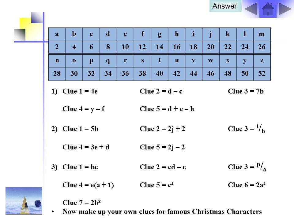 Answer a. b. c. d. e. f. g. h. i. j. k. l. m. 2. 4. 6. 8. 10. 12. 14. 16. 18. 20.