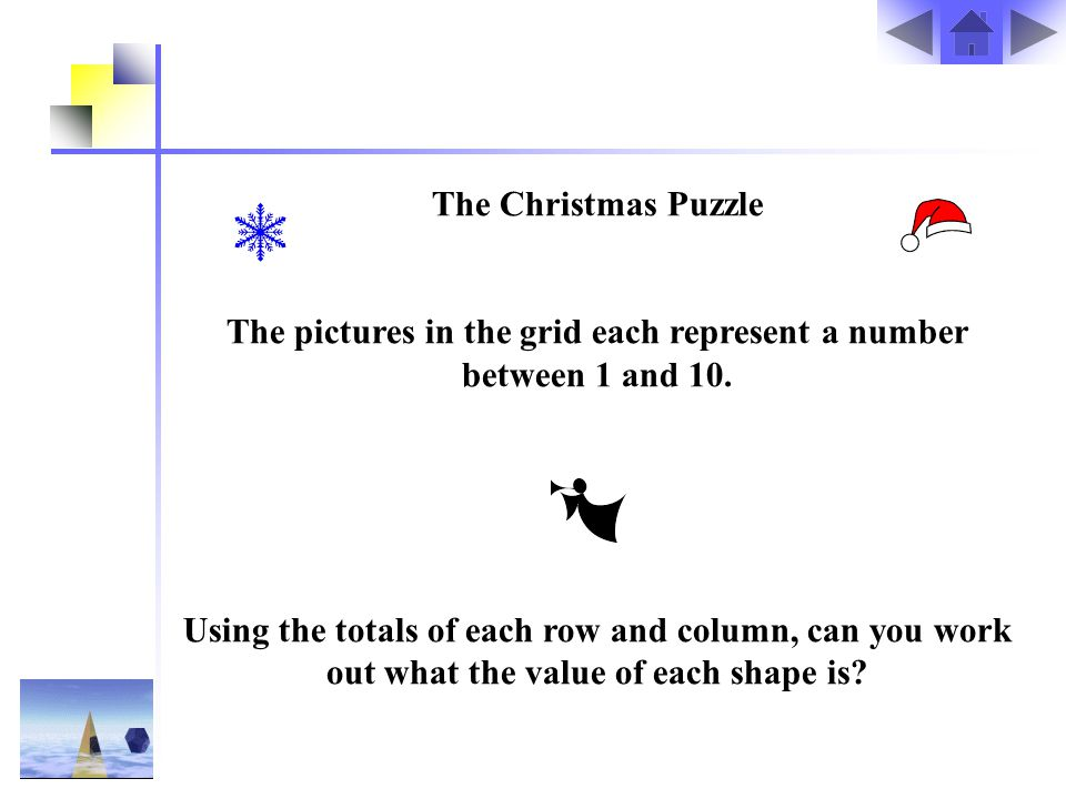 The pictures in the grid each represent a number between 1 and 10.