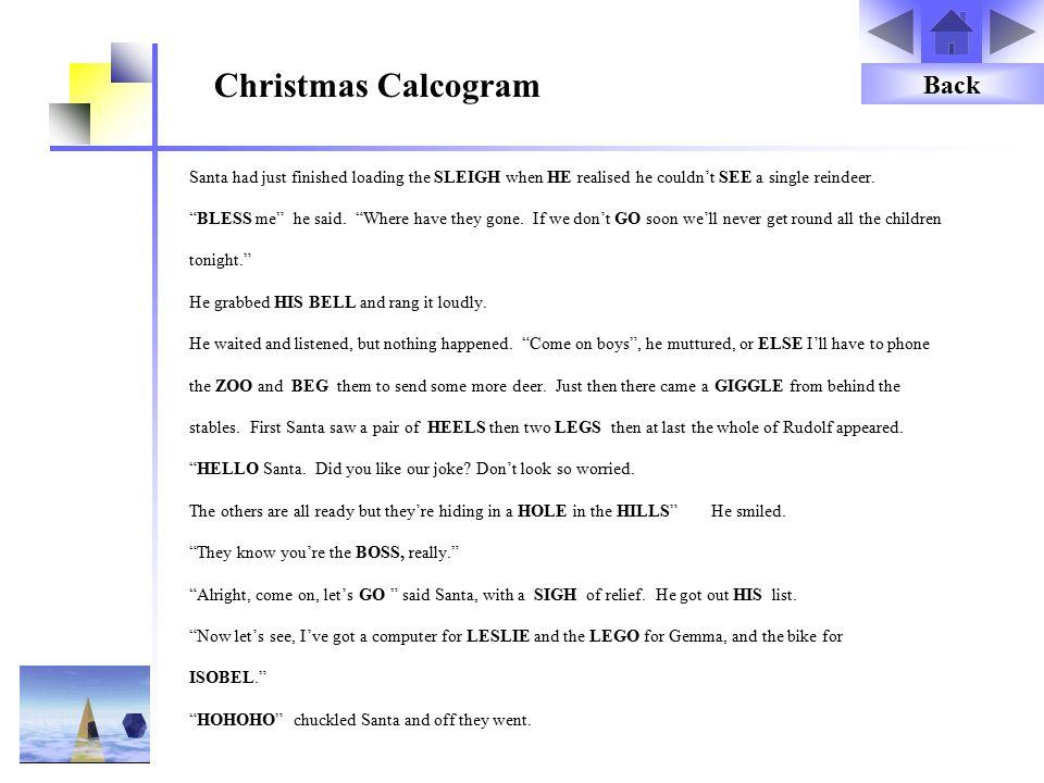 Christmas Calcogram Back