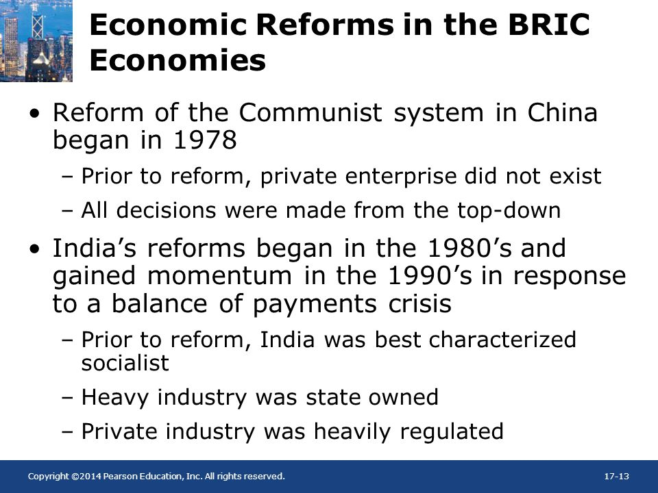 Economic Reforms in the BRIC Economies