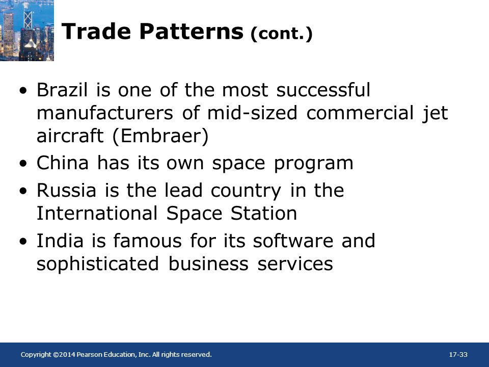 Trade Patterns (cont.) Brazil is one of the most successful manufacturers of mid-sized commercial jet aircraft (Embraer)