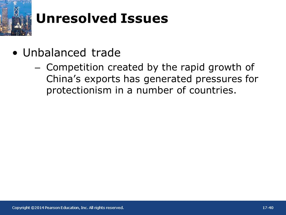 Unresolved Issues Unbalanced trade