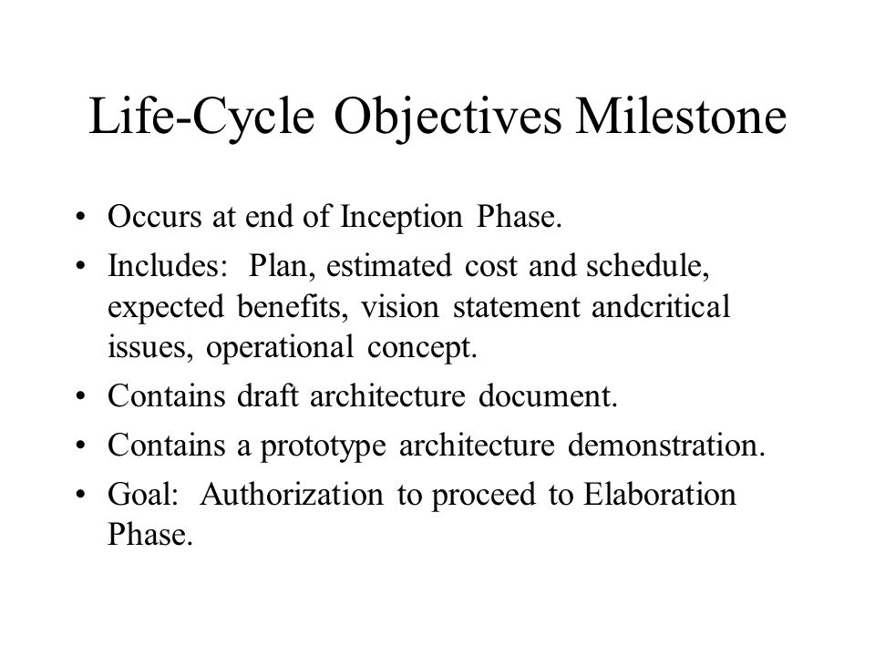Life-Cycle Objectives Milestone