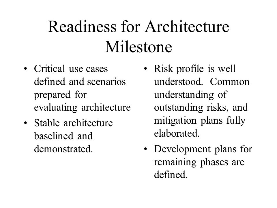 Readiness for Architecture Milestone