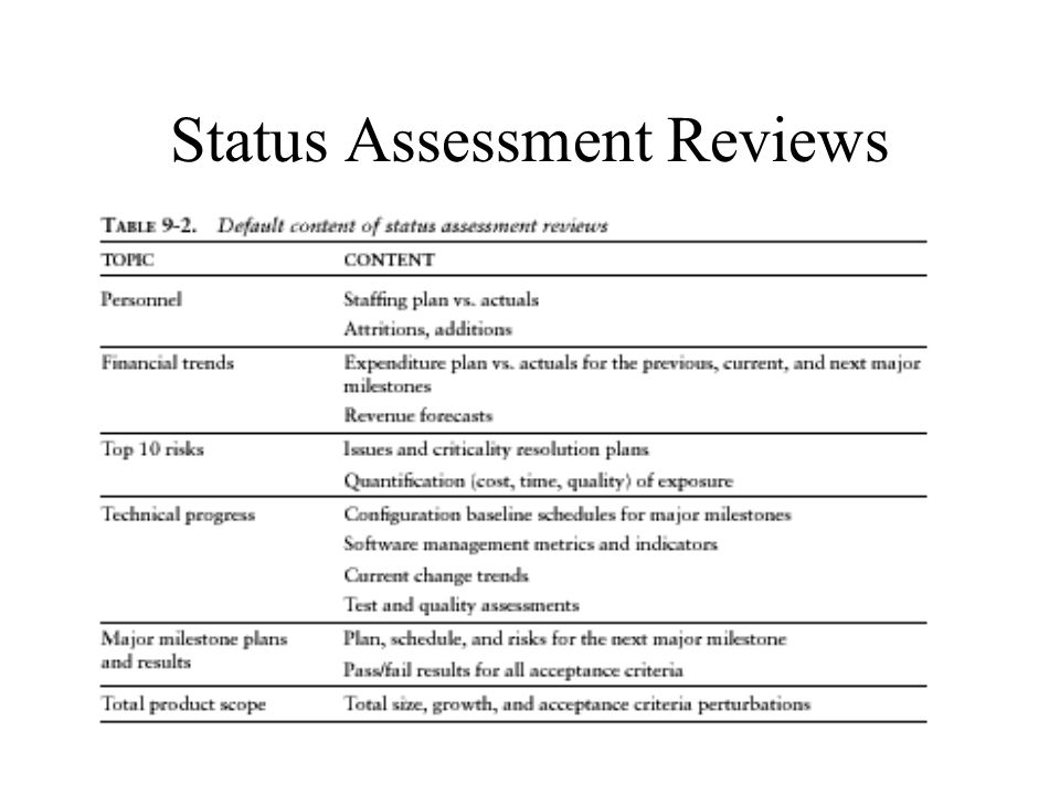 Status Assessment Reviews